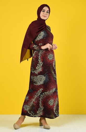 Elastic Sleeve Patterned Dress 8865-01 Damson 8865-01