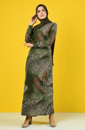 Elastic Sleeve Patterned Dress 8865-04 Khaki 8865-04