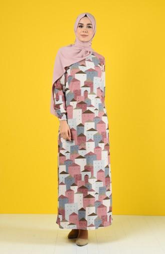 Kolu Lastikli Desenli Elbise 8866-01 Gül Kurusu
