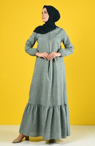 Düğmeli Elbise 8211-01 Haki