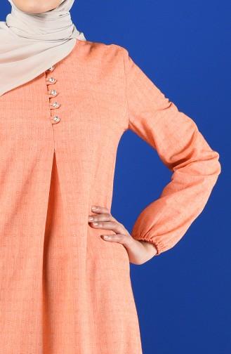 Buttoned Dress 8211-02 Orange 8211-02