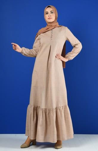 Düğmeli Elbise 8211-03 Vizon
