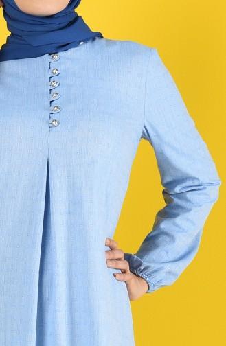Buttoned Dress 8211-06 Blue 8211-06