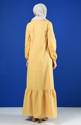 Buttoned Dress 8211-07 Yellow 8211-07