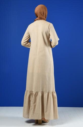 Buttoned Dress 8211-09 Beige 8211-09