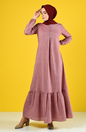 Buttoned Dress 8211-10 Light Burgundy 8211-10