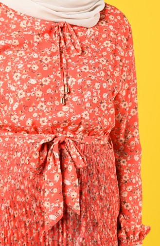 Piliseli Kuşaklı Elbise 9Y3934301-01 Mercan