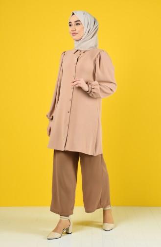 Elastic Sleeve Buttoned Tunic 1422-03 Caramel 1422-03