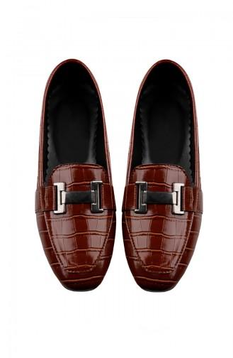 حذاء مسطح مع مشبك نسائي أخضر تبغي 0167-03