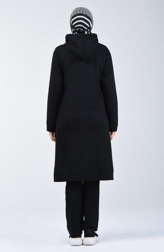 Kapüşonlu Fermurlı Eşofman Takım 20007-01 Siyah