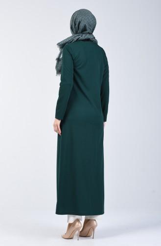 Fermuarlı Ferace 3054-05 Zümrüt Yeşili