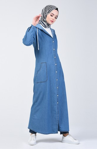 Kapüşonlu Kot Ferace 6191-01 Kot Mavi