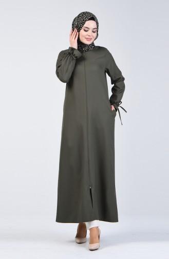 Zippered Abaya 0272-04 Khaki Green 0272-04