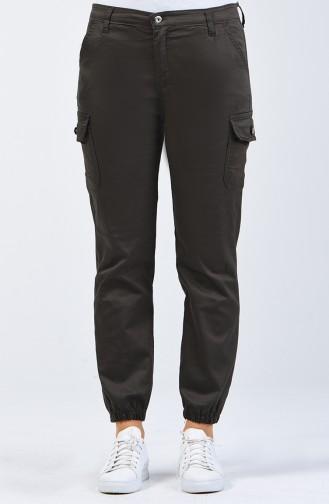 Pantalon Cargo à Poches 7506-02 Vert Foncé 7506-02