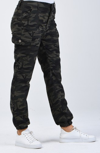Camouflage Patterned Cargo Pants 7506A-01 Army Green 7506A-01