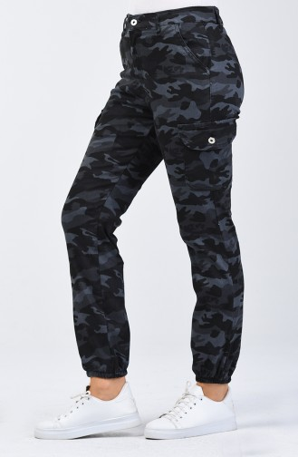 Kamuflaj Desen Kargo Pantolon 7506A-02 Antrasit