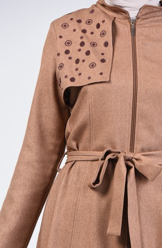 Zippered Belted Topcoat 61319-02 Mink 61319-02