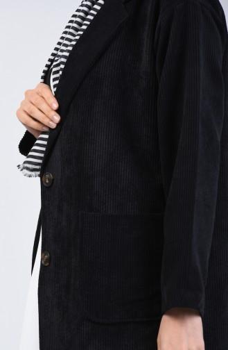 Velvet Buttoned Jacket Black 6420-01