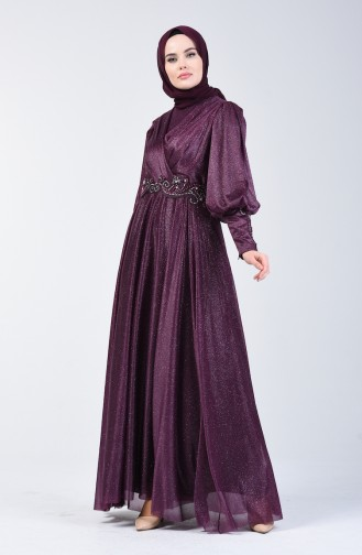 Sim Detaylı Abiye Elbise 52772-01 Mürdüm