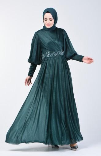 Glitter Detailed Evening Dress 52772-02 Green 52772-02