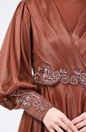 Glitter Detailed Evening Dress 52772-05 Tobacco 52772-05