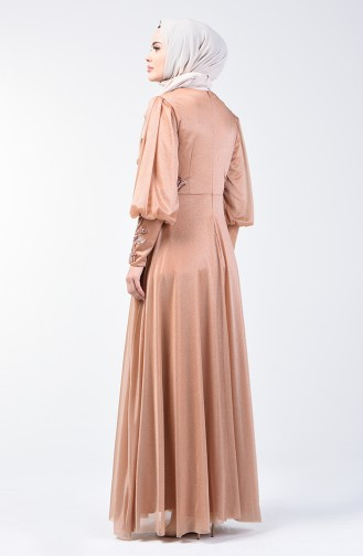 Glitter Detailed Evening Dress 52772-07 Gold 52772-07