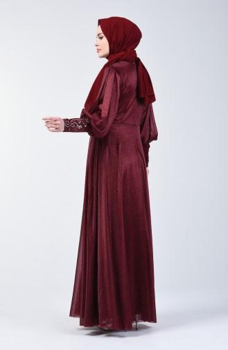 Sim Detaylı Abiye Elbise 52772-08 Bordo