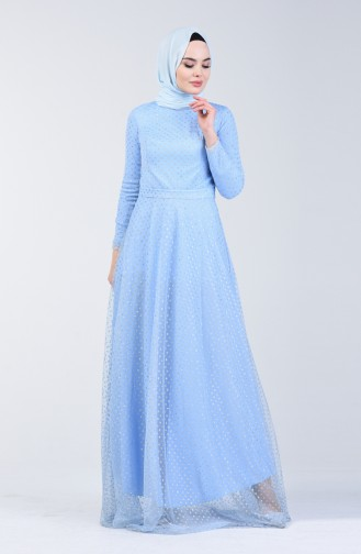 فساتين سهرة بتصميم اسلامي أزرق 83049-02