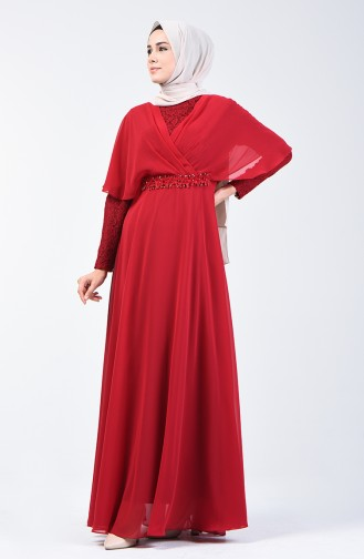 Lace Detailed Evening Dress 6059-04 Claret Red 6059-04