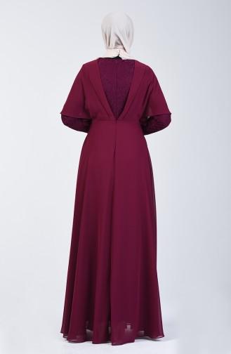 Lace Detailed Evening Dress 6059-06 Damson 6059-06