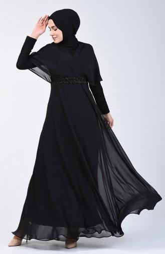 Dantel Detaylı Abiye Elbise 6059-07 Siyah