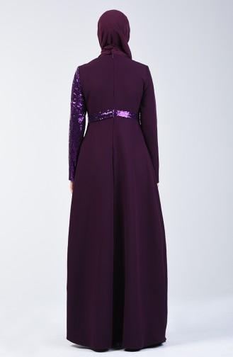Payetli Abiye Elbise 60098-02 Mor