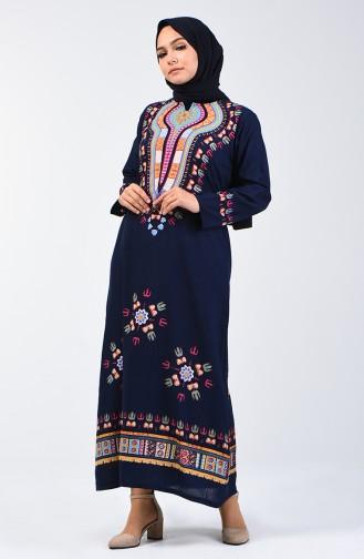Şile Cloth Patterned Dress 5555-04 Navy Blue 5555-04