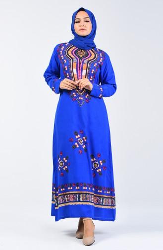 Şile Cloth Patterned Dress 5555-05 Saxe 5555-05