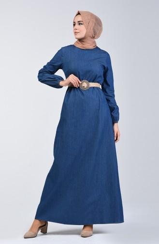 Kemerli Kot Elbise 4108-01 Lacivert