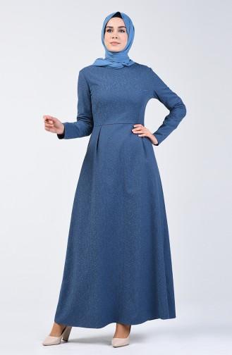 Jacquard Pleated Dress 3156-02 Indigo 3156-02