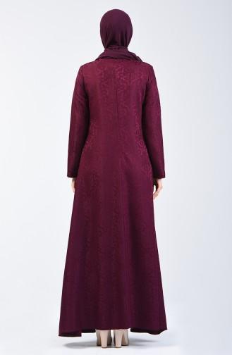 Jakarlı Elbise 3160-06 Mürdüm