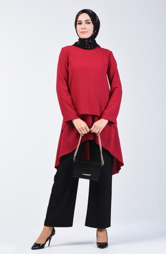 Aerobin Fabric Folded Asymmetric Tunic 0080-01 Claret Red 0080-01