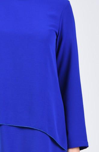 Aeroben Fabric Folded Asymmetric Tunic 0080-02 Saxe 0080-02
