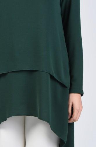 Aerobin Fabric Folded Asymmetric Tunic 0080-03 Emerald Green 0080-03