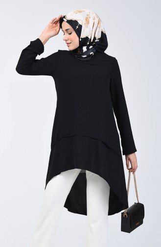 Aerobin Fabric Folded Asymmetric Tunic 0080-05 Black 0080-05