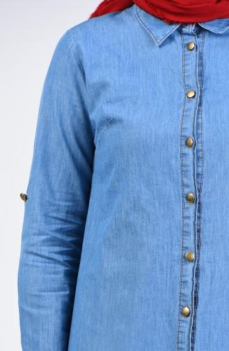 Düğmeli Kot Tunik 8176A-01 Kot Mavi