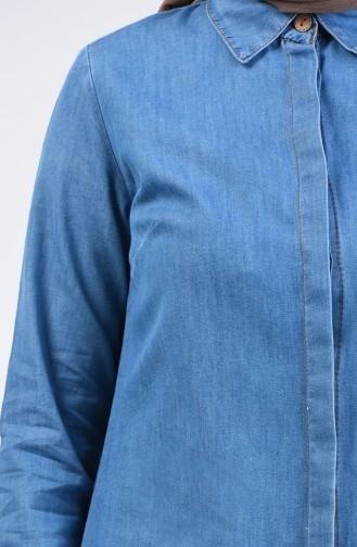 Saçaklı Uzun Kot Tunik 8218-01 Kot Mavi
