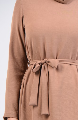 Aerobin Fabric Belted Tunic 0047-07 Light Brown 0047-07