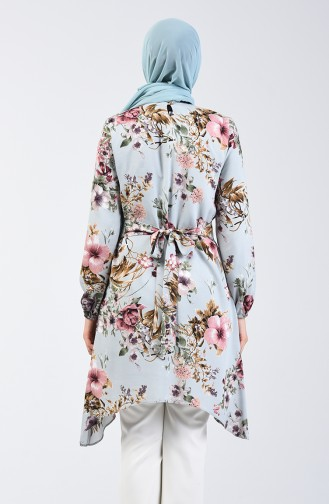 Flower Patterned Cotton Tunic 0008-01 Almond Green 0008-01