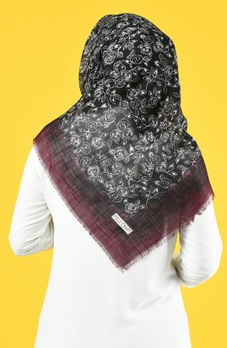 Elmina Patterned Cotton Scarf 885-02 Black Blue 885-02
