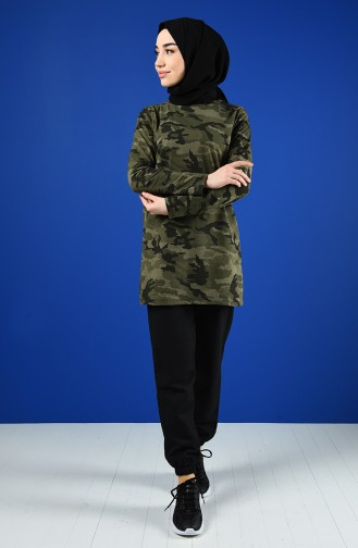 Camouflage Patterned Track Suit Set 2001-01 Khaki 2001-01