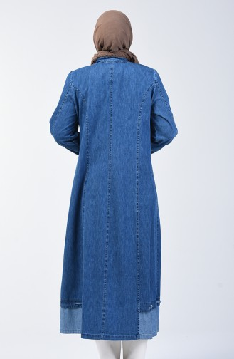 Plus Size Zippered Denim Abaya 0400-01 Navy Blue 0400-01