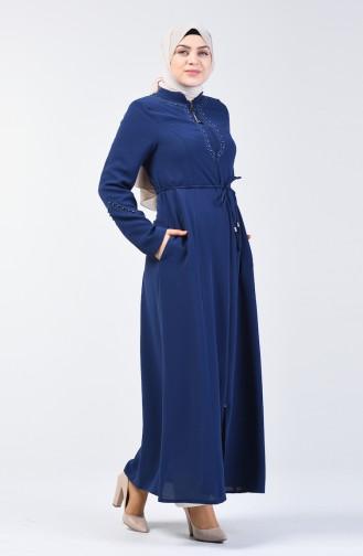 Pearled Abaya 3002-01 Indigo 3002-01