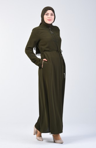 Pearled Abaya 3002-02 Khaki 3002-02